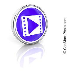 Movie on glossy blue round button