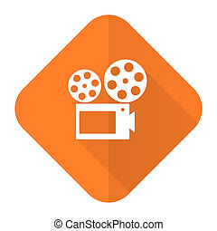 movie orange flat icon cinema sign