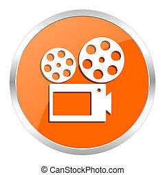 movie orange glossy icon