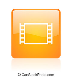 movie orange square glossy web icon
