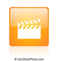 movie orange square web glossy icon