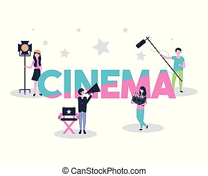 movie people production cinema scenography vector...
