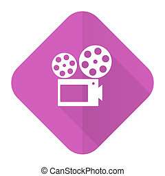 movie pink flat icon cinema sign