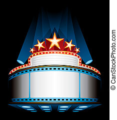 Illuminated big cinema marquee with stars