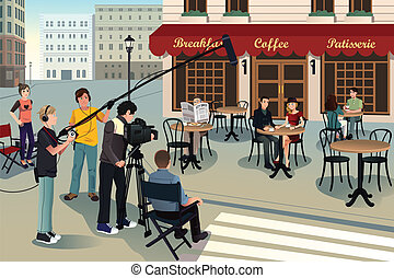 Movie production scene - A vector illustration of movie ...