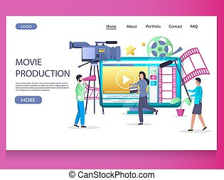 Movie production vector website template, web page and landing page design for website and mobile site development. Videography, cinematography, film making, video production.