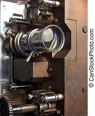 Movie Projector - 16 mm movie projector detail of lense