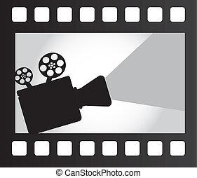 movie projector over film strip. vector illustration