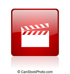 movie red square web glossy icon
