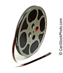 An isolated shot of a 16mm movie reel for projection playing at theaters.