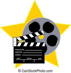 Movie reel and clapboard with a star background