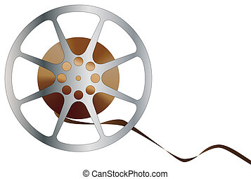 Movie Reel - A reel of movie film isolated over a white...