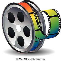 Movie Reel Icon - Film reel icon with colorful tape on white...
