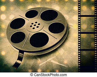 Movie reel - Grunge illustration of movie reel with tape...