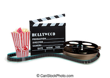 Movie reel with clapboard and popcorn - A movie reel with...