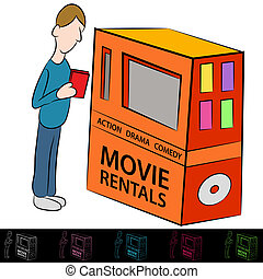 Movie Rental Machine - An image of a man using a movie ...