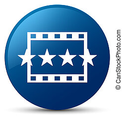 Movie reviews icon blue round button