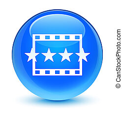 Movie reviews icon glassy cyan blue round button