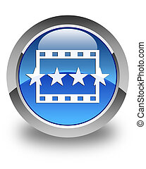 Movie reviews icon glossy blue round button