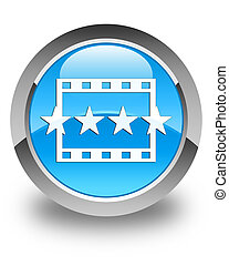 Movie reviews icon glossy cyan blue round button