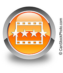 Movie reviews icon glossy orange round button