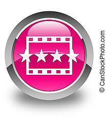 Movie reviews icon glossy pink round button