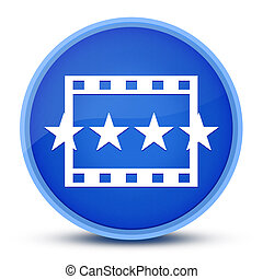 Movie reviews icon isolated on special blue round button abstract