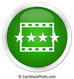 Movie reviews icon premium green round button