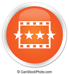 Movie reviews icon premium orange round button