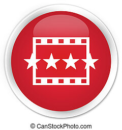 Movie reviews icon premium red round button
