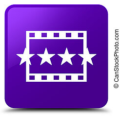 Movie reviews icon purple square button