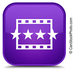 Movie reviews icon special purple square button