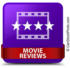 Movie reviews purple square button red ribbon in middle