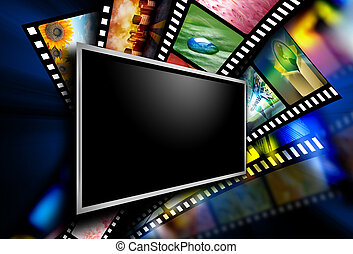 A flat screen television has entertainment film images on the black background. The screen is blank to add a text message.