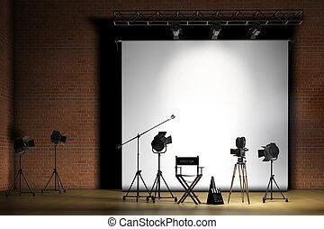 Movie Set - Movie set inside a sound stage with movie lights...