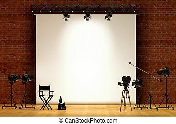 Movie Set - Movie set inside a sound stage with movie...