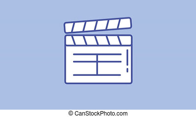 Movie slapstick line icon is one of the Photo and Video icon set. File contains alpha channel. From 2 to 6 seconds - loop.