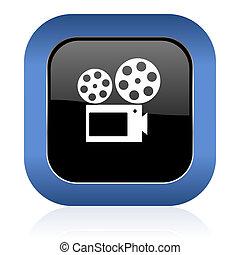 movie square glossy icon cinema sign