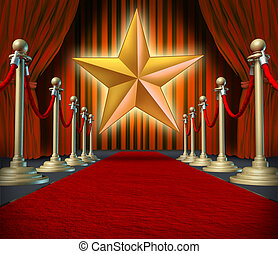 Movie star symbol on a red carpet representing Hollywood premier grand opening.