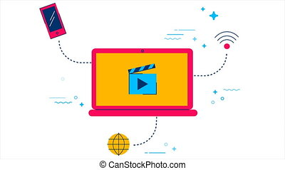 Movie streaming online concept 2d animation