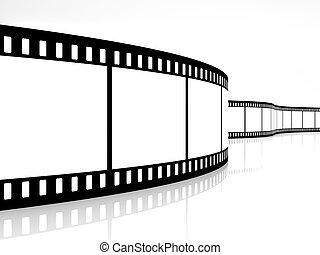 movie strip - 3d image of film strip on white