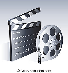 Movie clapperboard and reel on gradient background.