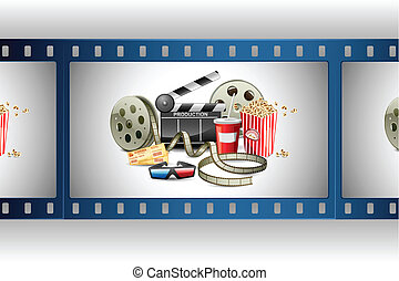 illustration of colorful film reel with pop corn, reel and clapper board