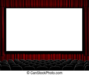Movie Theater - A movie theater showing blank screen from...