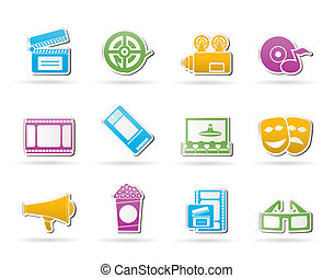 Movie theater and cinema icons