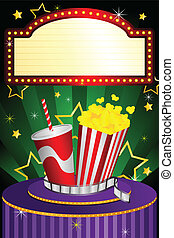 A vector illustration of a movie theater background