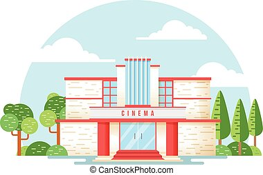 Movie theater building illustration