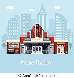 Movie Theater Building - Modern cinema building facade with ...