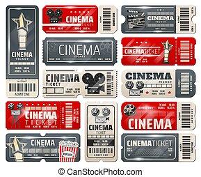 Movie theater, cinema retro vintage tickets