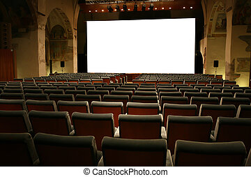 Movie Theater Empty and White Visual Screen